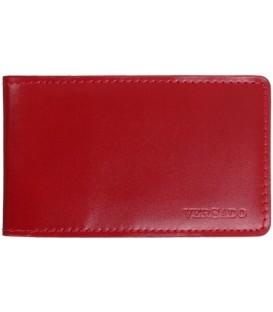 Визитница из натуральной кожи Versado 069 65*110 мм, 1 карман, 16 листов, красная