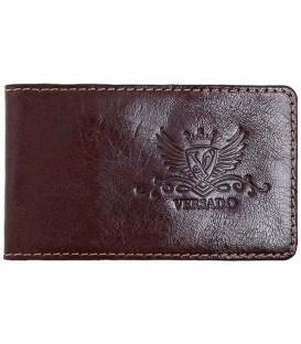 Визитница из натуральной кожи Versado 069 65*110 мм, 1 карман, 16 листов, коричневая
