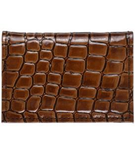 Визитница из натуральной кожи «Кинг» 4336 105*70 мм, 1 карман, 18 листов, рифленая коричневая