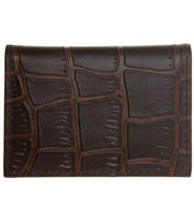 Визитница из натуральной кожи «Кинг» 4336 105*70 мм, 1 карман, 18 листов, рифленая темно-коричневая
