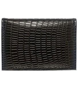 Визитница из натуральной кожи «Кинг» 4336 105*70 мм, 1 карман, 18 листов, рифленая черная
