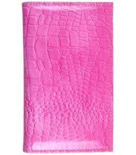 Визитница из натуральной кожи «Кинг» 4333 115*185 мм, 3 кармана, 18 листов, рифленая розовая