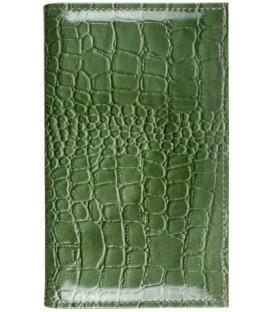Визитница из натуральной кожи «Кинг» 4333 115*185 мм, 3 кармана, 18 листов, рифленая зеленая
