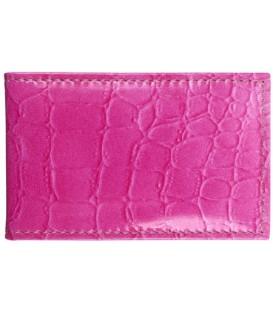 Визитница из натуральной кожи «Кинг» 4319 110*70 мм, 1 карман, 18 листов, рифленая розовая