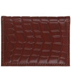 Визитница из натуральной кожи «Кинг» 4319 105*70 мм, 1 карман, 18 листов, рифленая коричневая