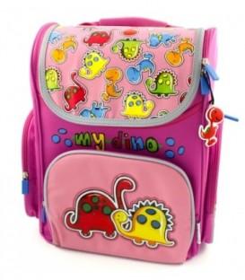 Ранец для средних классов My Dino 280*360*150 мм, розовый+фиолетовый