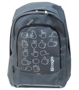 Ранец для средних и старших классов Cagia 430*300*180 мм, серый с рисунком