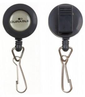 Держатель для бейджа с клипом и рулеткой Durable пластиковый клип, серый