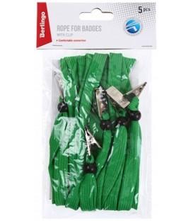 Набор тесьмы для бейджа Berlingo 45*1 см, 5 шт., зеленые