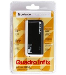 Разветвитель Defender Quadro Infix 4 порта, черный с белым