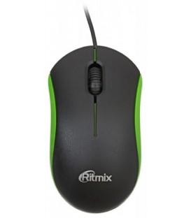Мышь компьютерная Ritmix ROM-111 проводная, USB, черная с зеленым