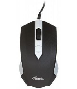 Мышь компьютерная Ritmix ROM-202 проводная, USB, черная с белым