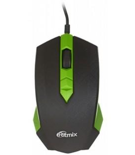 Мышь компьютерная Ritmix ROM-202 проводная, USB, черная с зеленым