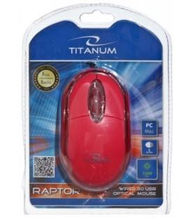 Мышь компьютерная Titanum Raptor TM102K USB, проводная, красная