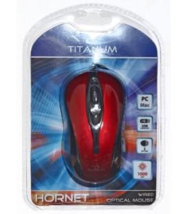 Мышь компьютерная Titanum Hornet TM103R USB, проводная, черная с красным