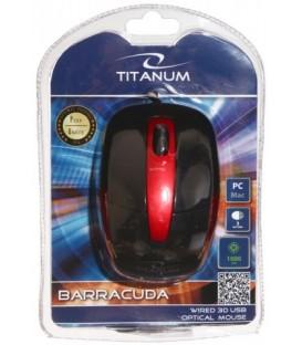 Мышь компьютерная Titanum Barracuda TM108K USB, проводная, черная с красным