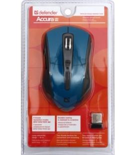 Мышь компьютерная Defender Accura MM-965 USB, беспроводная, серая с синим