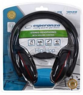 Наушники-стерео Esperanza EH121 черные с красным