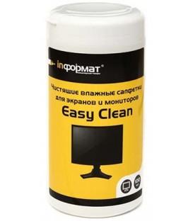 Салфетки чистящие для мониторов Easy Clean 100 шт., в тубе