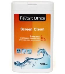 Салфетки влажные чистящие для экранов мониторов и телевизоров Favorit Office 100 шт.