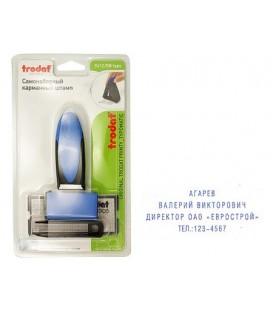 Штамп самонаборный на 4 строки Trodat 9412/DB typo размер текстовой области 47*18 мм, корпус синий с черным