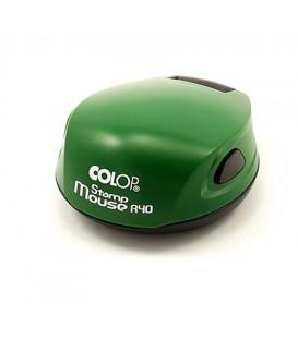 Полуавтоматическая оснастка Colop Stamp Mouse для клише печатидиаметр 248-40 мм, корпус цвета паприка-зеленый