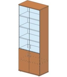 Шкаф офисный 804*450*2155 мм, без замка со стеклом, груша