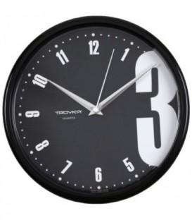 Часы настенные «Тройка» черный фон, черная рамка
