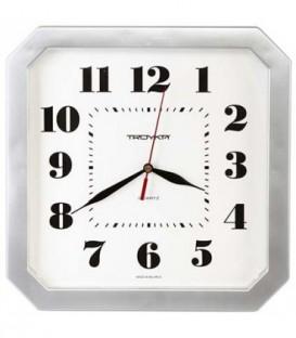 Часы настенные «Тройка» рамка серебристая