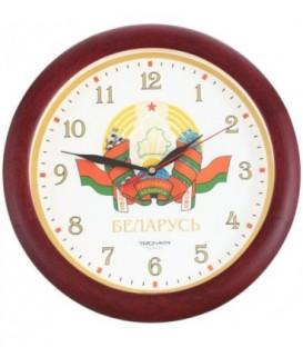 Часы настенные «Тройка» с символикой РБ «Герб РБ», рамка бордовая