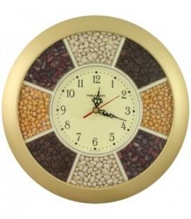 Часы настенные «Тройка» «Насыпь из бобов», круглые, рамка золотистая