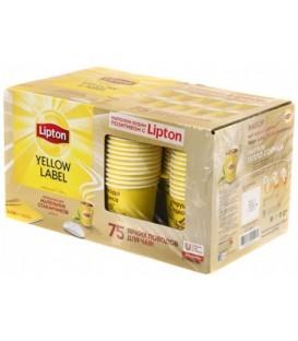 Набор чая Lipton Yellow Label Tea в промоупаковке 300 пакетиков + 75 стаканов, чай черный