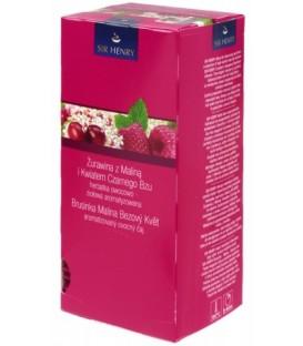 Чай Sir Henry 50 г, 25 пакетиков, Cranberry Raspberry Elderflower, напиток чайный с малиной и клюквой