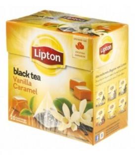 Чай Lipton ароматизированный в пирамидках 34 г, Vanilla Caramel, черный чай