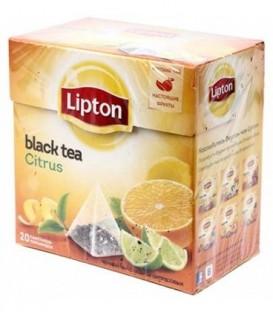 Чай Lipton ароматизированный в пирамидках 36 г, Citrus, черный чай с цедрой цитрусовых