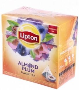 Чай Lipton 36 г, 20 пакетиков, Almond Plum, чай черный со вкусом сливы, миндаля и лепестками роз