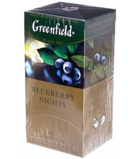 Чай Greenfield 50 г, 25 пакетиков, Blueberry Nights, чай черный с ароматом черники и сливок