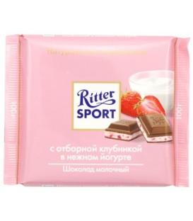 Шоколад Ritter Sport 100 г, молочный шоколад с клубникой в йогурте