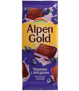 Шоколад Alpen Gold 90 г, «Черника с йогуртом», молочный шоколад