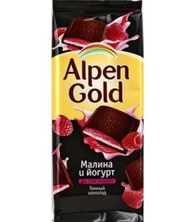 Шоколад Alpen Gold 90 г, «Малина с йогуртом», темный шоколад