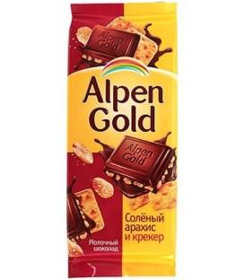 Шоколад Alpen Gold 90 г, «Соленый арахис и крекер», молочный шоколад