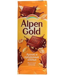 Шоколад Alpen Gold 90 г, «Арахис и кукурузные хлопья», молочный шоколад