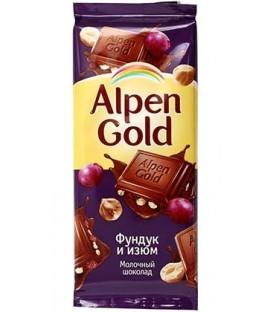 Шоколад Alpen Gold 90 г, «Фундук и изюм», молочный шоколад