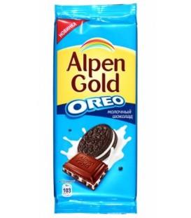 Шоколад Alpen Gold 95 г, молочный шоколад с начинкой со вкусом ванили и кусочками печенья