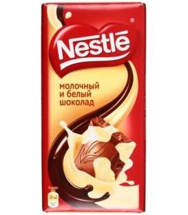Шоколад Nestle 90 г, молочный и белый шоколад