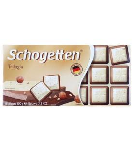 Шоколад Schogetten 100 г, белый шоколад с грильяжем и лесными орехами, молочный шоколад с джандуей и лесными орехами