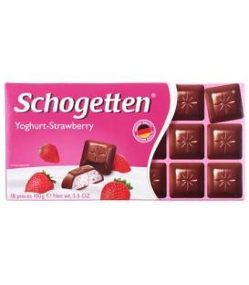 Шоколад Schogetten 100 г, молочный шоколад с начинкой «клубничный йогурт»