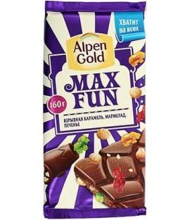 Шоколад Alpen Gold Max Fun 160 г, с карамелью, мармеладом и печеньем