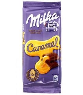 Шоколад Milka 90 г, молочный шоколад с карамельной начинкой