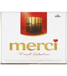 Набор шоколадный конфет Merci 250 г, 8 видов: ореховый крем, молочный шоколад, лесной орех и миндаль, кремовая начинка пралине